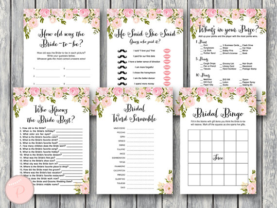bridal shower games printables